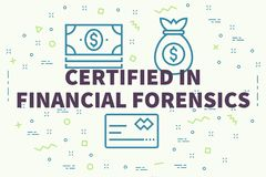 Conceptual business illustration with the words certified in fin. Ancial forensics Stock Photo