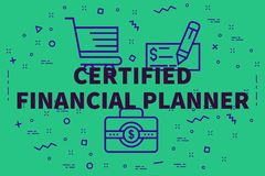 Conceptual business illustration with the words certified financ. Ial planner Royalty Free Stock Image