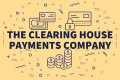 Conceptual business illustration with the words the clearing house payments company royalty free illustration