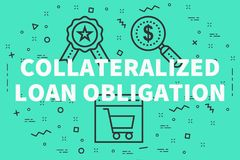 Conceptual business illustration with the words collateralized l. Oan obligation Royalty Free Stock Photos