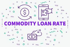 Conceptual business illustration with the words commodity loan r. Ate Stock Images