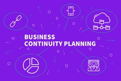 Conceptual business illustration with the words business continuity planning royalty free illustration