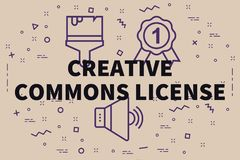 Conceptual business illustration with the words creative commons. License Stock Photo