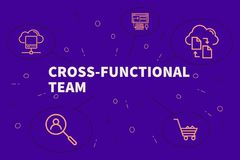 Conceptual business illustration with the words cross-functional stock illustration