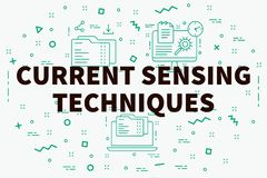 Conceptual business illustration with the words current sensing. Techniques Stock Photography