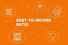 Conceptual business illustration with the words debt-to-income r. Atio Royalty Free Stock Image