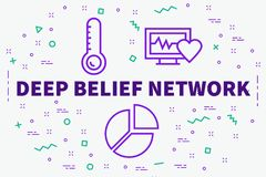 Conceptual business illustration with the words deep belief network royalty free illustration