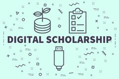 Conceptual business illustration with the words digital scholars. Hip Stock Photo