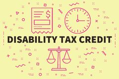 Conceptual business illustration with the words disability tax c. Redit Stock Photo