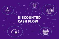 Conceptual business illustration with the words discounted cash. Flow stock illustration