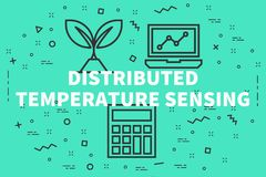 Conceptual business illustration with the words distributed temp. Erature sensing Stock Image