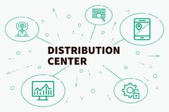 Conceptual business illustration with the words distribution center vector illustration