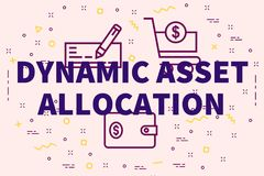 Conceptual business illustration with the words dynamic asset al. Location Stock Photography