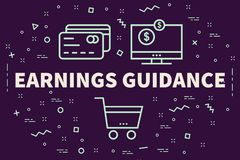 Conceptual business illustration with the words earnings guidanc. E Stock Photography