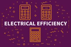 Conceptual business illustration with the words electrical efficiency royalty free illustration
