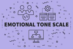 Conceptual business illustration with the words emotional tone s stock illustration