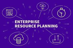 Conceptual business illustration with the words enterprise resource planning stock illustration
