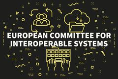 Conceptual business illustration with the words european committ. Ee for interoperable systems Stock Photography