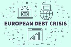 Conceptual business illustration with the words european debt cr. Isis Royalty Free Stock Image