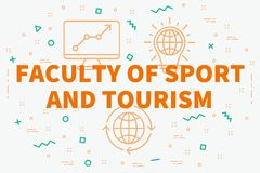 Conceptual business illustration with the words faculty of sport. And tourism Royalty Free Stock Image