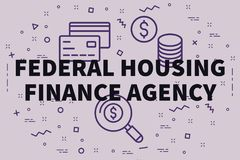 Conceptual business illustration with the words federal housing. Finance agency Royalty Free Stock Image