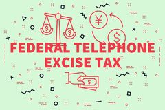 Conceptual business illustration with the words federal telephon. E excise tax Stock Images