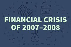 Conceptual business illustration with the words financial crisis. Of 2007–2008 Royalty Free Stock Image
