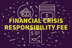 Conceptual business illustration with the words financial crisis. Responsibility fee Royalty Free Stock Photos