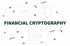 Conceptual business illustration with the words financial crypto. Graphy Stock Photo