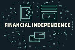 Conceptual business illustration with the words financial indepe. Ndence Stock Photography