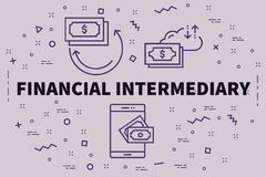 Conceptual business illustration with the words financial interm. Ediary Stock Images