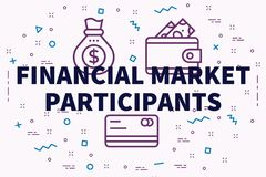 Conceptual business illustration with the words financial market. Participants Royalty Free Stock Image