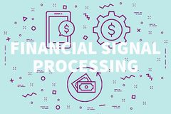 Conceptual business illustration with the words financial signal. Processing Royalty Free Stock Photos