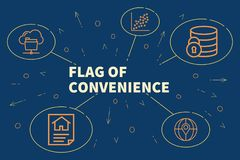 Conceptual business illustration with the words flag of convenience vector illustration