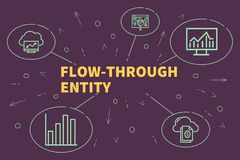 Conceptual business illustration with the words flow-through entity vector illustration