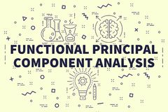 Conceptual business illustration with the words functional principal component analysis stock illustration