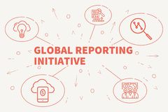 Conceptual business illustration with the words global reporting. Initiative Stock Image
