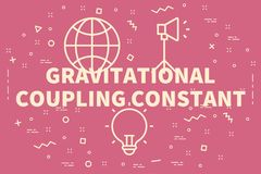 Conceptual business illustration with the words gravitational co. Upling constant Royalty Free Stock Photography