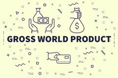 Conceptual business illustration with the words gross world prod. Uct Stock Photography
