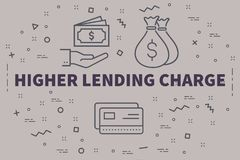 Conceptual business illustration with the words higher lending c. Harge Royalty Free Stock Photo