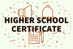 Conceptual business illustration with the words higher school ce. Rtificate Royalty Free Stock Photo