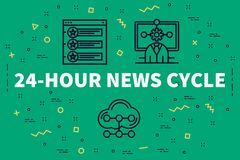 Conceptual business illustration with the words 24-hour news cyc. Le Stock Photography