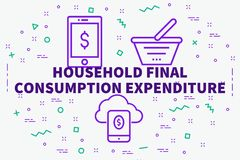 Conceptual business illustration with the words household final. Consumption expenditure Stock Photos