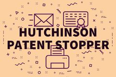 Conceptual business illustration with the words hutchinson paten. T stopper Royalty Free Stock Photos