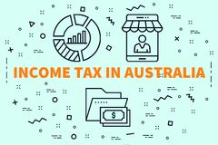 Conceptual business illustration with the words income tax in au. Stralia Stock Photography
