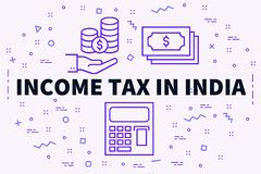 Conceptual business illustration with the words income tax in in. Dia Stock Image