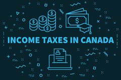 Conceptual business illustration with the words income taxes in. Canada Stock Images