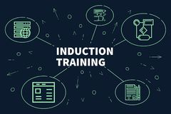Conceptual business illustration with the words induction training vector illustration
