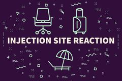 Conceptual business illustration with the words injection site r. Eaction Stock Images