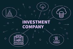 Conceptual business illustration with the words investment compa. Ny Stock Photography